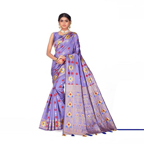 Amegh - Light Purple Colored Festive Wear Woven Banarasi Silk Saree With Tassels