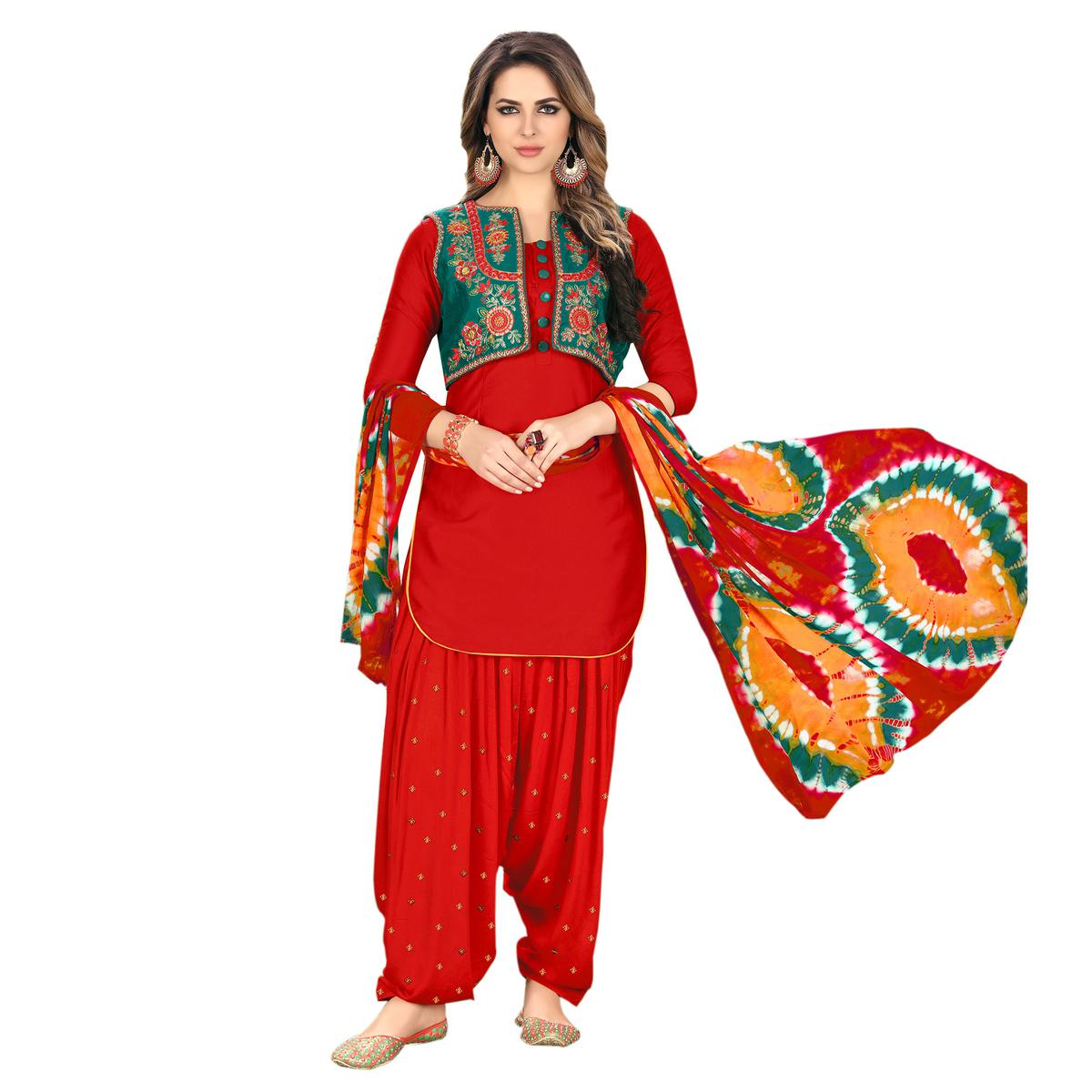 Vibrant Red Designer Embroidered Partywear Glaze Cotton Patiala Suit