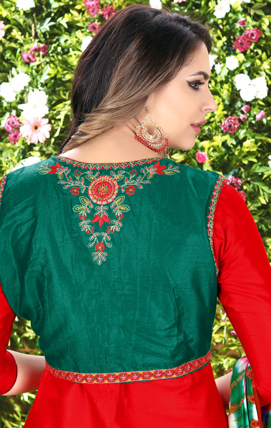 Vibrant Red Designer Embroidered Partywear Glaze Cotton Patiyala Suit