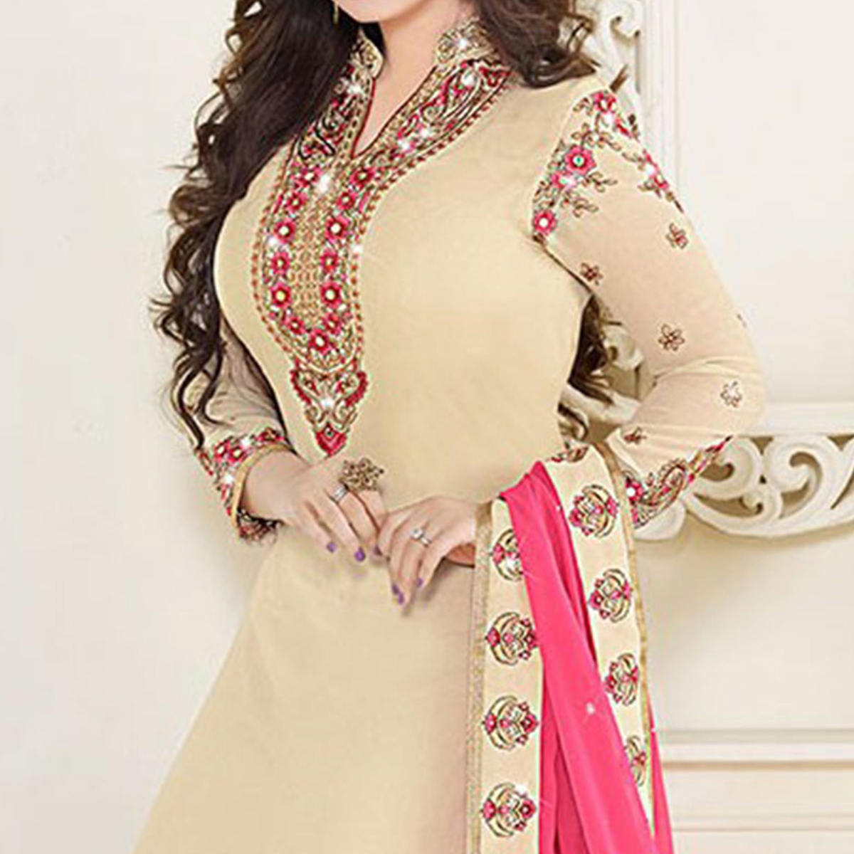 Cream Party Wear Embroidered Suit