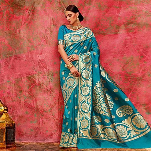 Blue Designer Festive Wear Woven Silk Saree