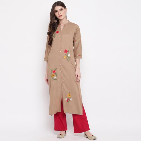 Vbuyz Women's - Brown Colored Embroidered,Solid Straight Rayon Kurti