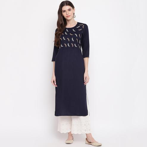 Vbuyz Women's - Blue Colored Embroidered,Gota Patti Work Straight Rayon Kurti