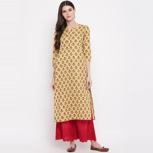 Vbuyz Women's - Yellow Colored Printed,Gota Patti Work, Sequience Work Straight Cotton Kurti
