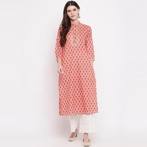 Vbuyz Women's - Light Orange Colored Printed, Lace Work Straight Cotton Kurti