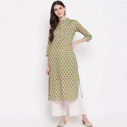 Vbuyz Women's - Parrot Green Colored Printed, Lace Work Straight Cotton Kurti
