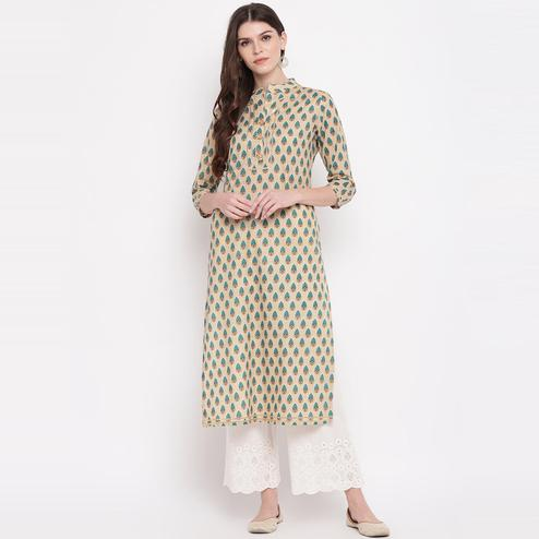 Vbuyz Women's - Cream Colored Printed, Lace Work Straight Cotton Kurti