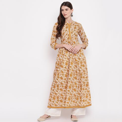 Vbuyz Women's - Beige Colored Kalamkari Print,Gota Patti Work Anarkali Cotton Kurti