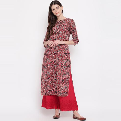 Vbuyz Women's - Red Colored Kalamkari Print Straight Cotton Kurti