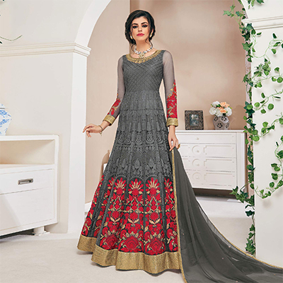 Gorgeous Gray Designer Partywear Embroidered Net Anarkali Suit
