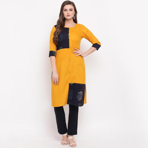 Vbuyz Women's - Yellow Colored Solid & Printed Straight Rayon Kurti