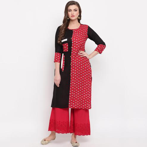 Vbuyz Women's -red & Black Colored Floral Print Straight Cotton Kurti