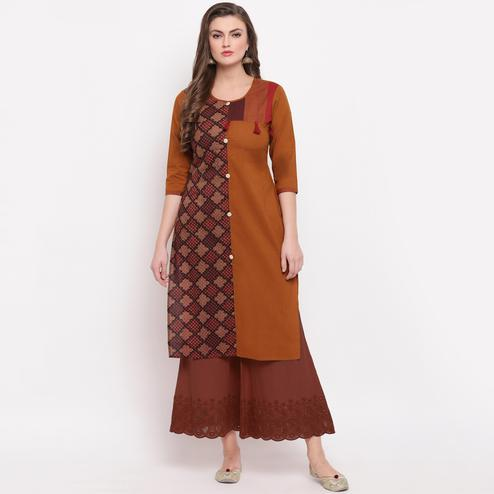 Vbuyz Women's - Brown Colored Prinred Straight Cotton Kurti
