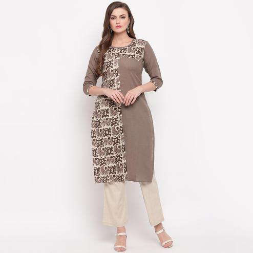 Vbuyz Women's - Grey Colored Prinred Straight Cotton Kurti