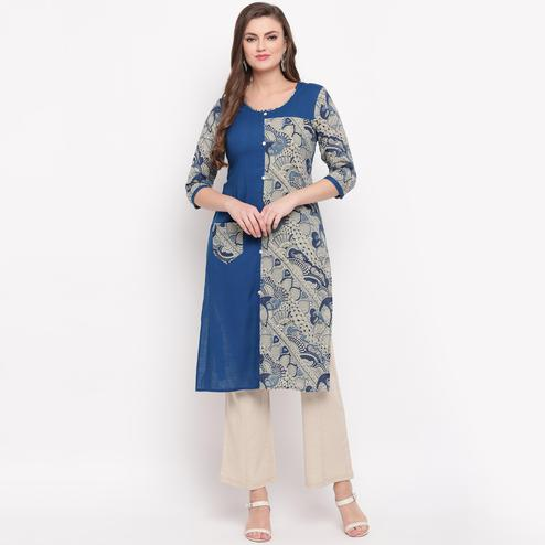 Vbuyz Women's - Blue Colored Printed Straight Cotton Kurti