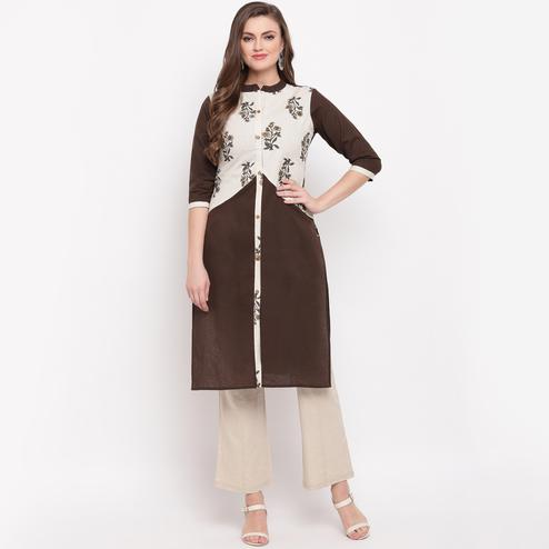 Vbuyz Women's - Brown Colored Floral Print Straight Cotton Kurti