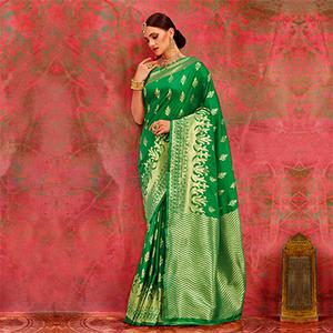 Green Designer Festive Wear Woven Silk Saree