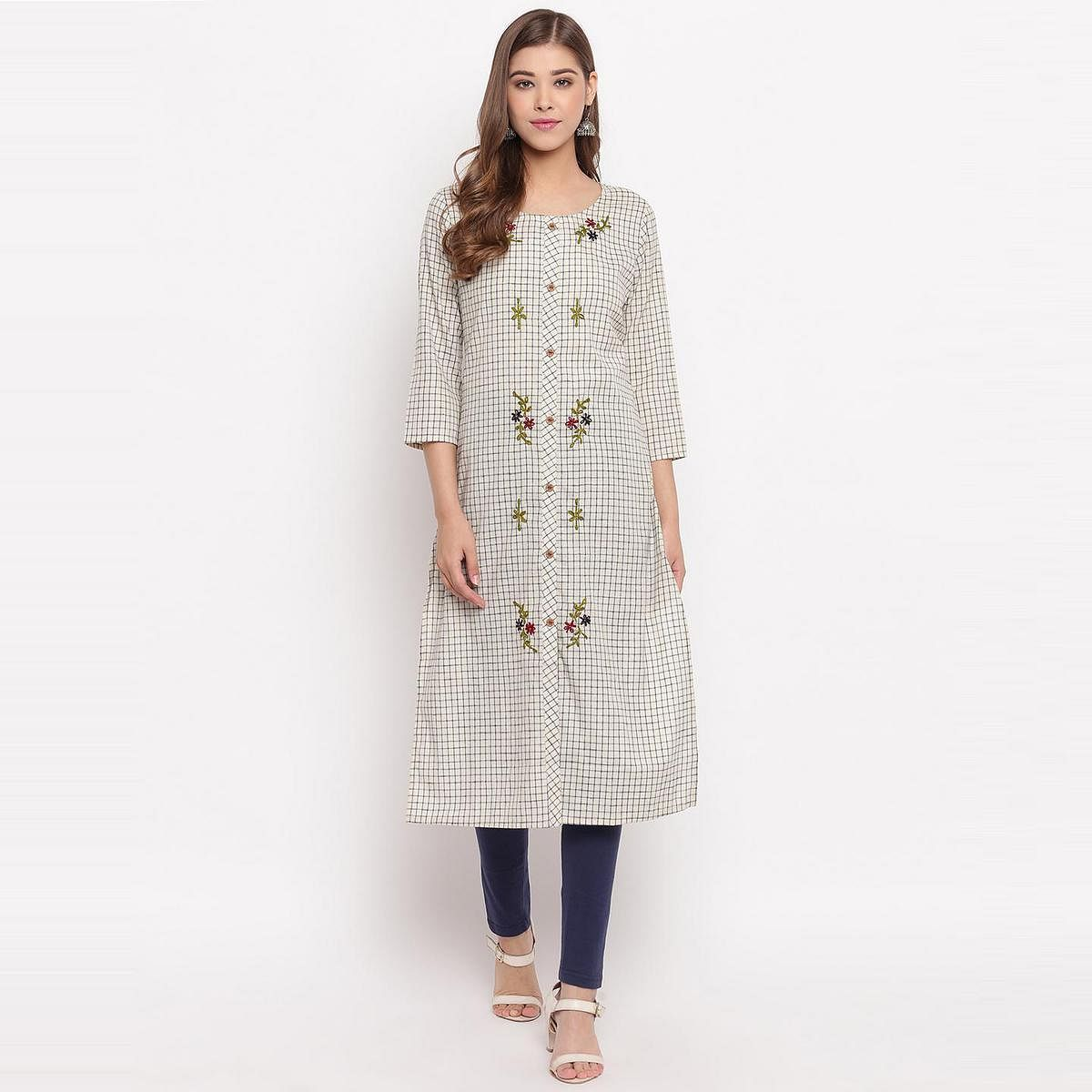 Vbuyz Women's - Beige Colored Checks Print,Hand Work Straight Cotton Kurti