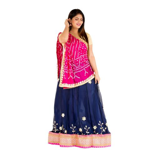 Pooja Fashion - Navy Blue Colored Party Wear Embroidered Georgette Lehenga Choli