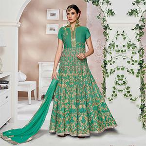 Graceful Green Designer Partywear Embroidered Mulberry Silk Anarkali Suit