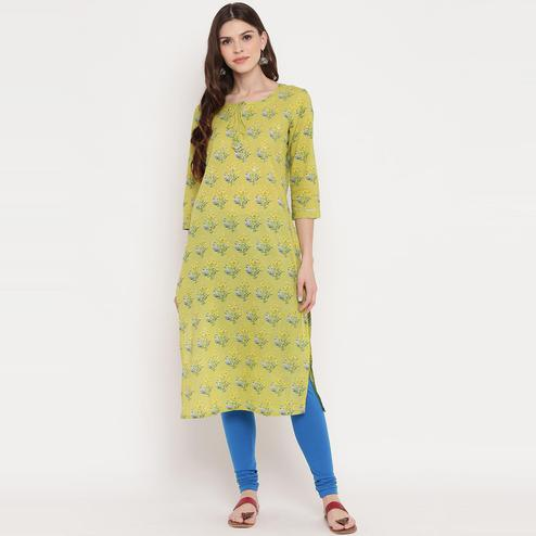 Vbuyz Women's - Parrot Green Colored Floral Print & Mirror Work Straight Cotton Kurti