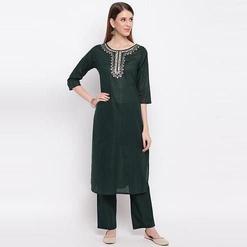Vbuyz Women's - Teal Green Colored Embroidered / Striped Print Cotton Silk Straight Kurti Pant Set