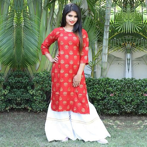 Prominent Red Colored Casual Wear Printed Rayon Kurti-Sharara Set