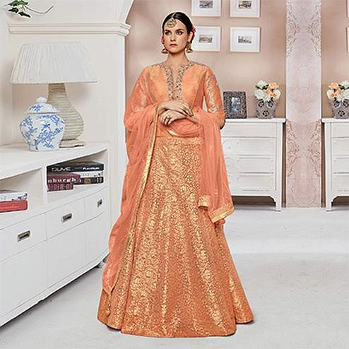 Beautiful Light Orange Designer Partywear Embroidered Mulberry Silk Anarkali Suit