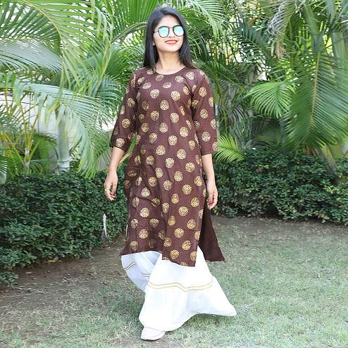 Entrancing Brown Colored Casual Wear Printed Rayon Kurti-Sharara Set