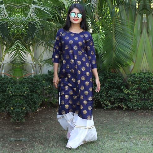 Adorning Navy Blue Colored Casual Wear Printed Rayon Kurti-Sharara Set