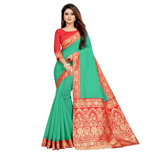 Wazood - Green Colored Festive Wear Jacquard Pallu Chanderi Cotton Silk Saree