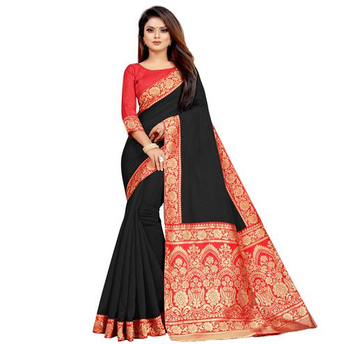Wazood - Black Colored Festive Wear Jacquard Pallu Chanderi Cotton Silk Saree