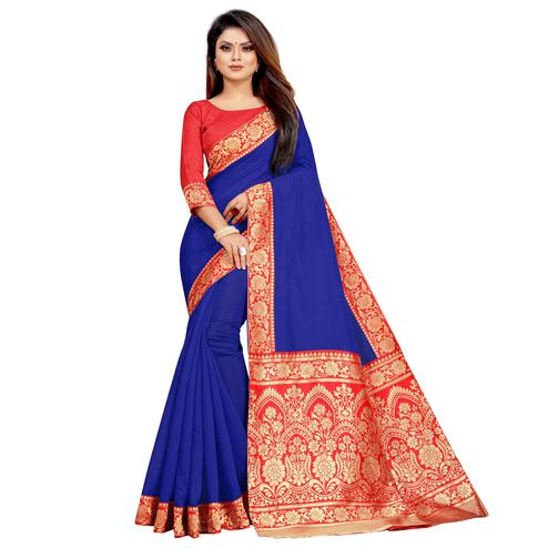 Wazood - Blue Colored Festive Wear Jacquard Pallu Chanderi Cotton Silk Saree