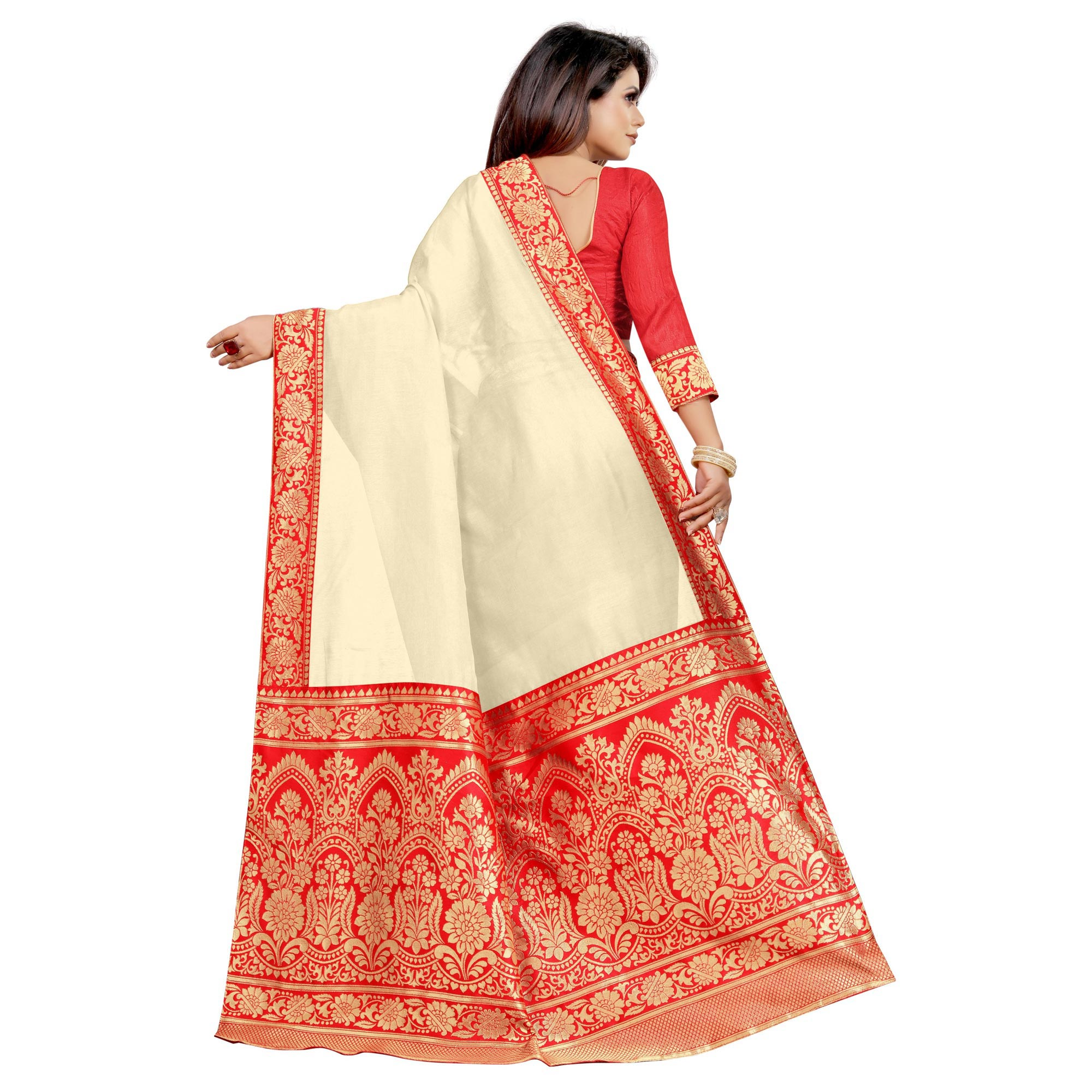 Wazood - Cream Colored Festive Wear Jacquard Pallu Chanderi Cotton Silk Saree