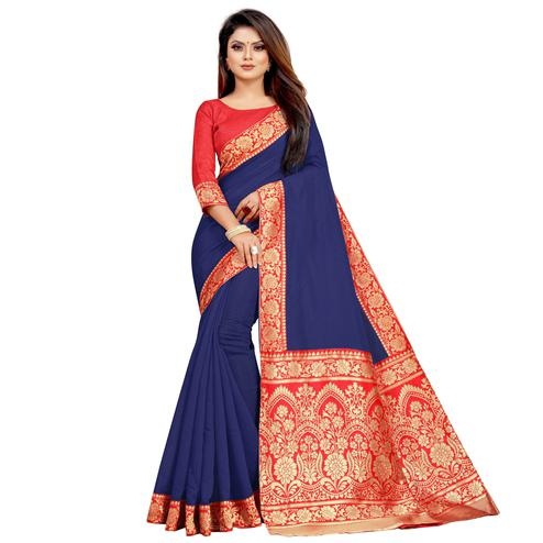 Wazood - Navy Blue Colored Festive Wear Jacquard Pallu Chanderi Cotton Silk Saree