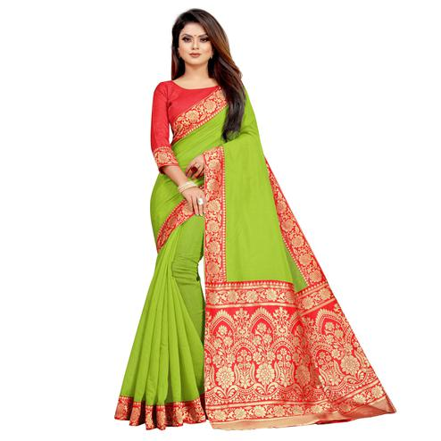 Wazood - Parrot Green Colored Festive Wear Jacquard Pallu Chanderi Cotton Silk Saree