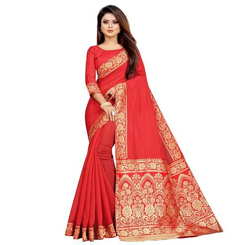Wazood - Red Colored Festive Wear Jacquard Pallu Chanderi Cotton Silk Saree