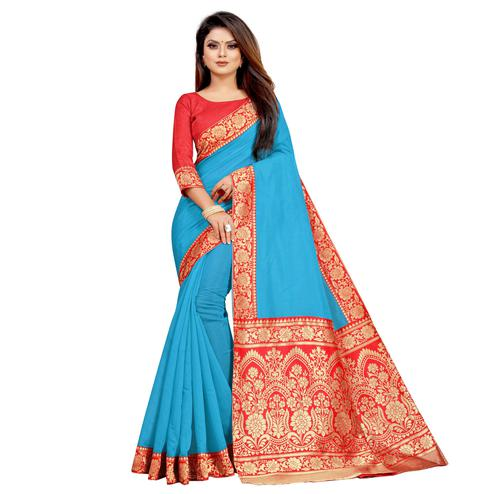 Wazood - Sky Blue Colored Festive Wear Jacquard Pallu Chanderi Cotton Silk Saree