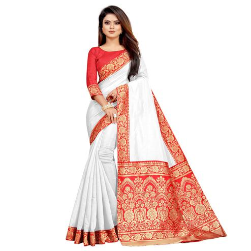 Wazood - White Colored Festive Wear Jacquard Pallu Chanderi Cotton Silk Saree