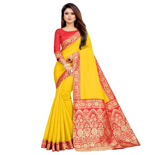 Wazood - Yellow Colored Festive Wear Jacquard Pallu Chanderi Cotton Silk Saree