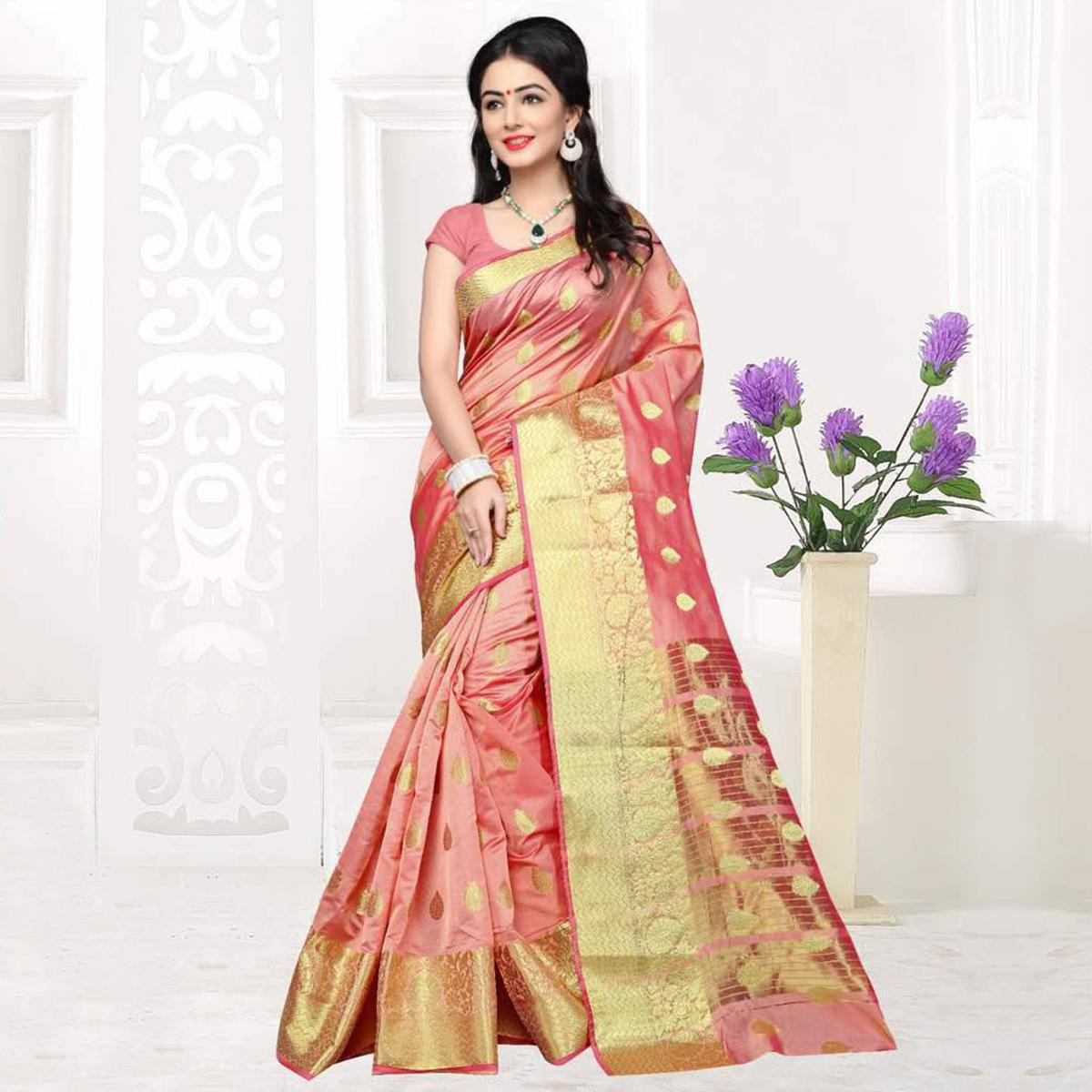 Peach Festive Wear Banarasi Silk Saree