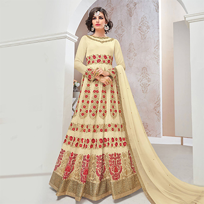 Elegant Cream Designer Partywear Embroidered Georgette Anarkali Suit