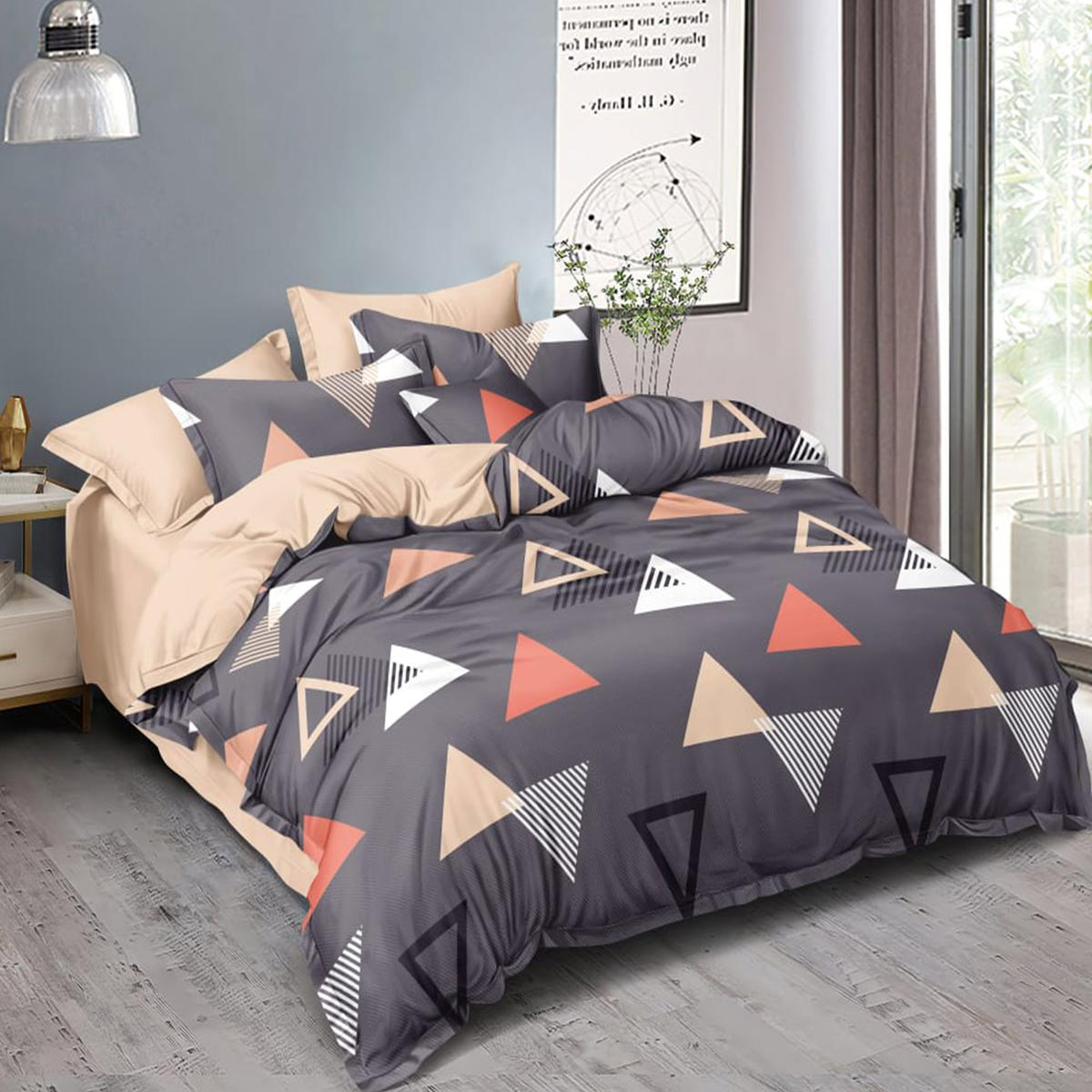 Arresting Grey Colored Geometric Printed Double Bedsheet With Pillow Cover