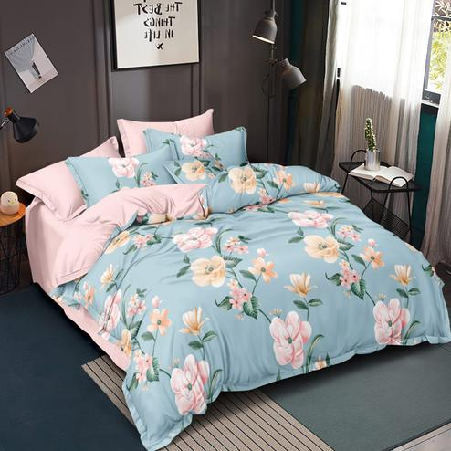 Exotic Sky Blue Colored Floral Printed Double Bedsheet With Pillow Cover