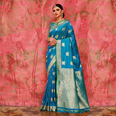 Sky Blue Designer Festive Wear Woven Silk Saree