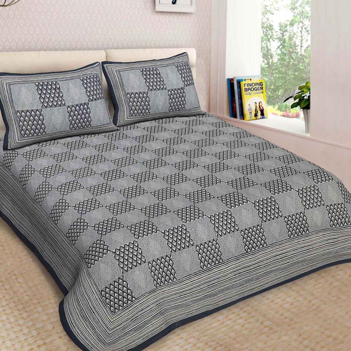 Bhagats Blue Colored Check Print Cotton Double Bedsheet With 2 Pillow Cover