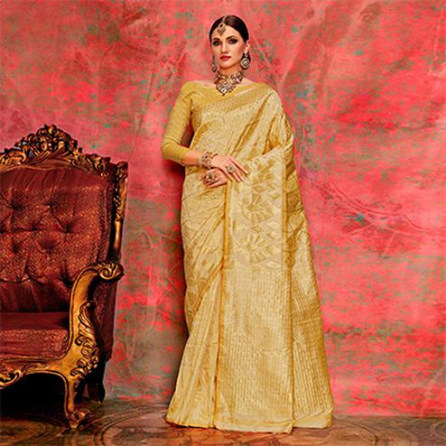 Yellow Designer Festive Wear Woven Silk Saree