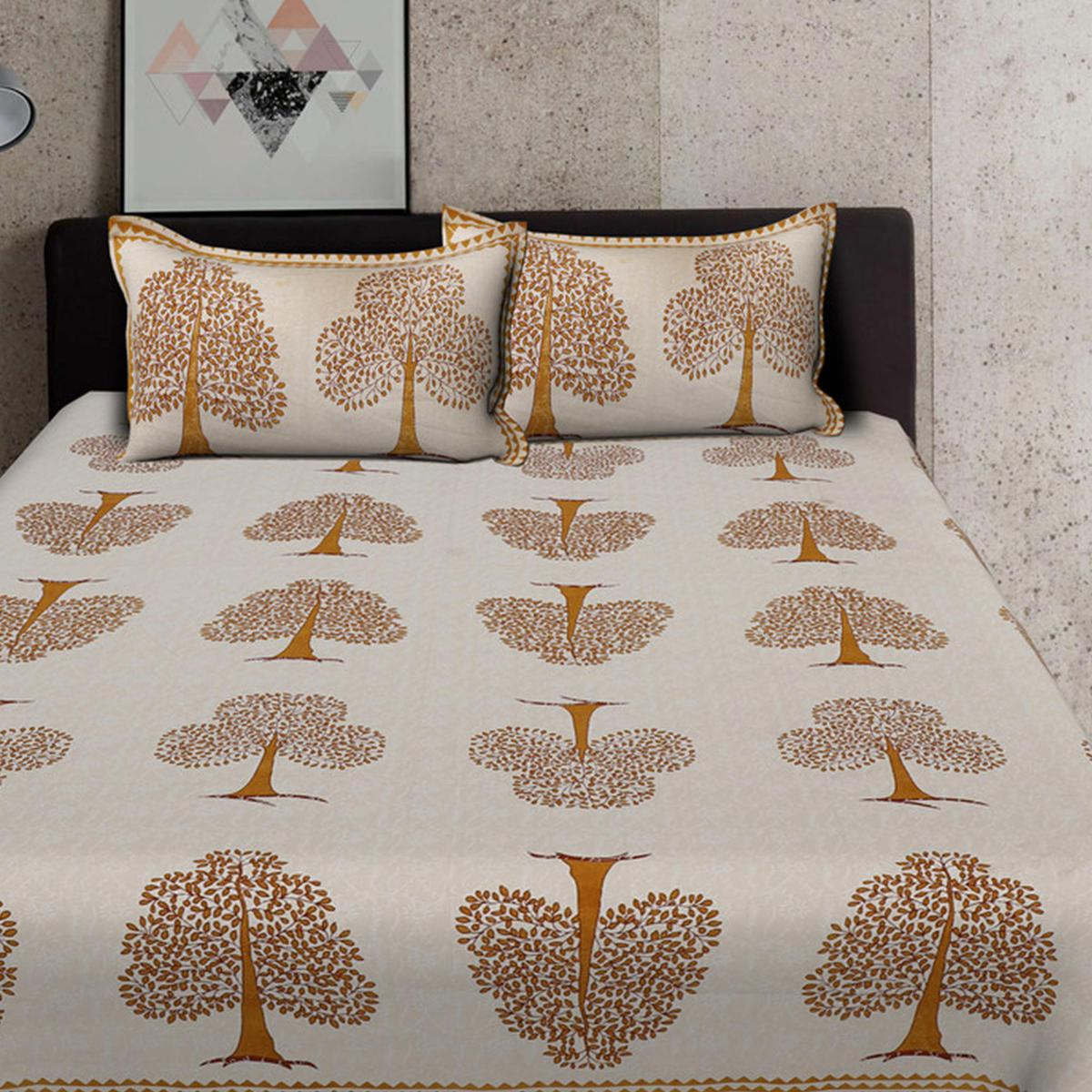 Bhagats Brown Colored Tree Print Cotton Double Bedsheet With 2 Pillow Cover
