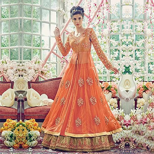 Flamboyant Orange Designer Partywear Embroidered Net Lehenga Kameez