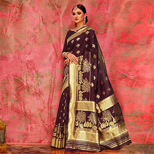 Wine Colored Designer Festive Wear Woven Silk Saree